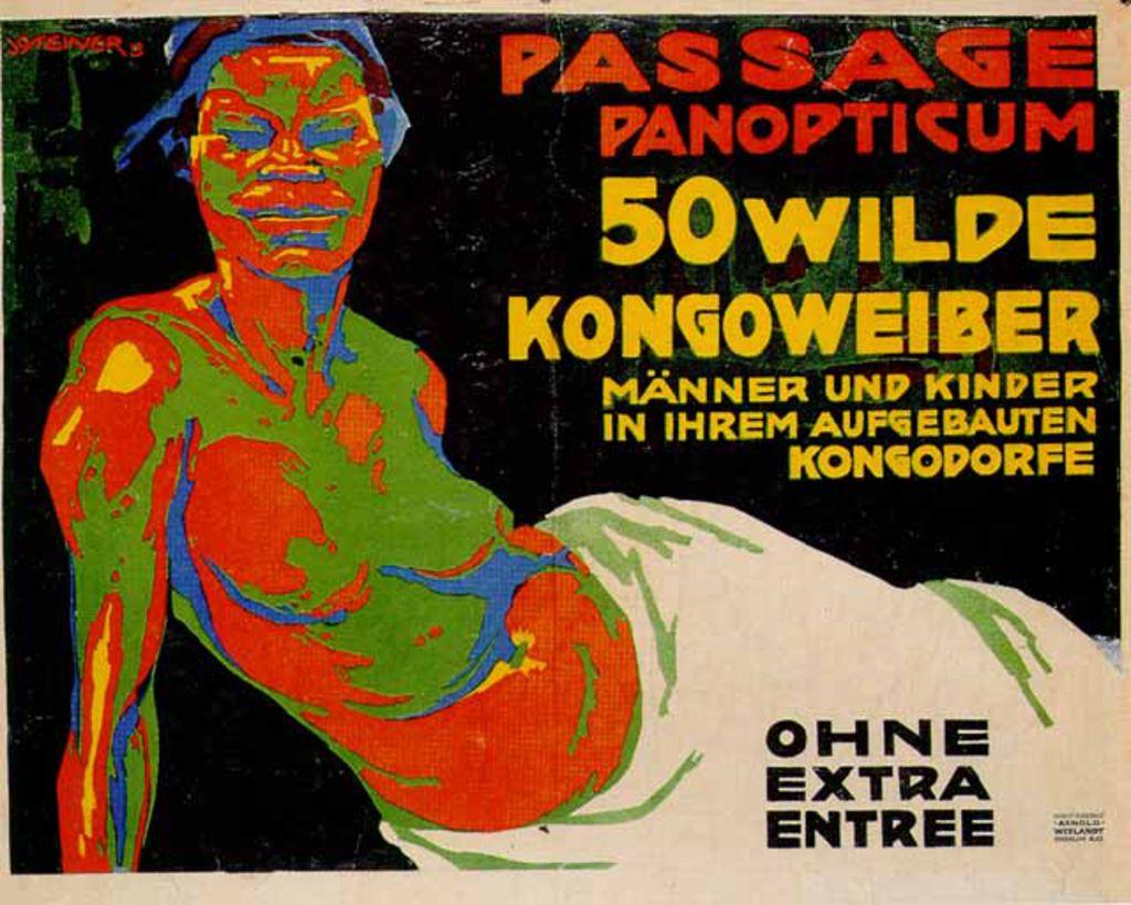 Ausstellungsplakat für einen Auftritt von Afrikanerinnen und Afrikaner im Berlin-Panoptikum, 1913